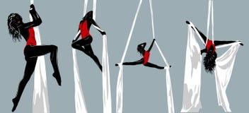 Siluetas del gimnasta Fotografía de archivo
