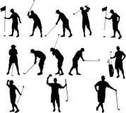 Siluetas del golf Foto de archivo libre de regalías