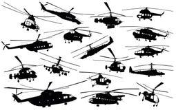 Siluetas del helicóptero Imágenes de archivo libres de regalías