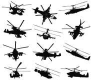 Siluetas del helicóptero fijadas ilustración del vector