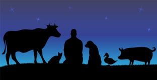 Siluetas del hombre con muchos animales en noche con las estrellas Imagen de archivo libre de regalías