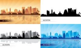 Siluetas del horizonte de la ciudad de Austin fijadas stock de ilustración