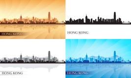 Siluetas del horizonte de la ciudad de Hong Kong fijadas ilustración del vector