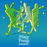 Siluetas del jugador de tenis que juegan a Ping Pong Fotos de archivo