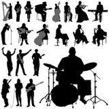 Siluetas del músico stock de ilustración