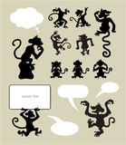 Siluetas del mono Foto de archivo libre de regalías