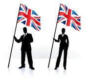 Siluetas del negocio con la bandera que agita de Reino Unido stock de ilustración