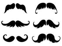 Siluetas del negro del bigote stock de ilustración