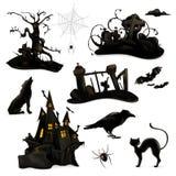 Siluetas del negro de Halloween Foto de archivo libre de regalías