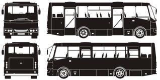 Siluetas del omnibus de la ciudad del vector Fotos de archivo