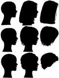 Siluetas del perfil de la mujer del salón de belleza del estilo de pelo Foto de archivo libre de regalías