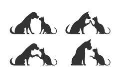 Siluetas del perro del gato de los animales domésticos Imagenes de archivo