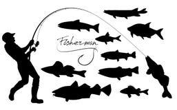 Siluetas del pescador y de los pescados stock de ilustración