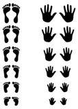 Siluetas del pie y de la palma del toldler, del cabrito y del adulto Fotos de archivo