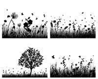 Siluetas del prado Fotografía de archivo libre de regalías