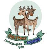 Siluetas del reno de la Navidad en el fondo blanco Fotos de archivo