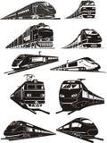 siluetas del tren Imagenes de archivo
