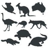 Siluetas del vector de animales de Australia stock de ilustración