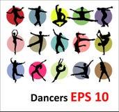 Siluetas del vector de bailarines Fotografía de archivo libre de regalías