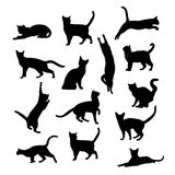 Siluetas del vector de gatos Foto de archivo