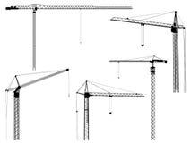 Siluetas del vector de la torre de la grúa de construcción. stock de ilustración