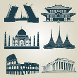 Siluetas del vector de las atracciones turísticas del mundo Señales famosas y símbolos del destino ilustración del vector