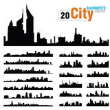 Siluetas del vector de los horizontes de la ciudad de los mundos fotos de archivo