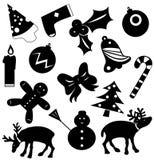 Siluetas del vector de los iconos de la Navidad libre illustration