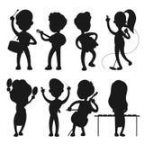 Siluetas del vector de los músicos aisladas en el fondo blanco stock de ilustración