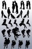 Siluetas del vector de los pares, mujeres solteras, perros libre illustration