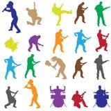 Siluetas del vector de músicos Imagen de archivo libre de regalías