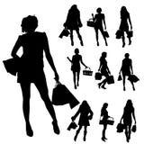 Siluetas del vector de mujeres stock de ilustración