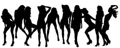 Siluetas del vector de mujeres atractivas Fotografía de archivo