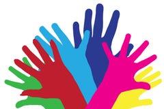 Siluetas del vector del color de manos Fotos de archivo