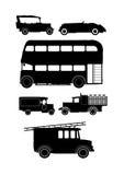 Siluetas del vehículo del vintage Imagen de archivo