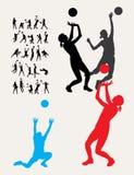 Siluetas del voleibol Imágenes de archivo libres de regalías