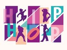 Siluetas detalladas de las muchachas que bailan entre letras del hip-hop ilustración del vector