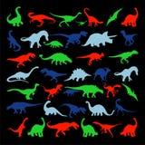 Siluetas determinadas del vector del dinosaurio Fotos de archivo libres de regalías