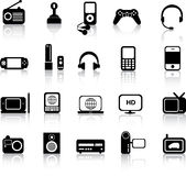 Siluetas electrónicas Imágenes de archivo libres de regalías