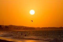 Siluetas en la puesta del sol Imagen de archivo libre de regalías