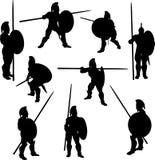 Siluetas espartanos del hoplita Fotografía de archivo libre de regalías
