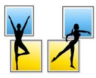 Siluetas femeninas de la yoga de la aptitud Foto de archivo libre de regalías