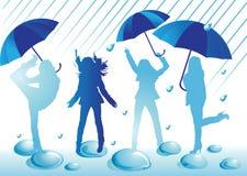 Siluetas femeninas que se divierten debajo de los paraguas abiertos bajo la lluvia stock de ilustración