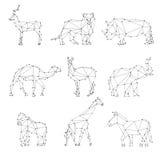 Siluetas geométricas de los animales stock de ilustración