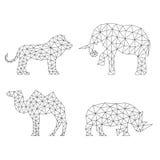 Siluetas geométricas de los animales Sistema de polígonos ilustración del vector