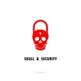 Siluetas humanas del cráneo e icono de la llave principal Cráneo humano Foto de archivo