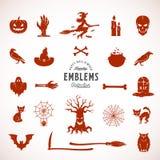 Siluetas, iconos o símbolos de Halloween del vector Elementos de la construcción para las etiquetas, las invitaciones, los cartel Foto de archivo libre de regalías