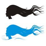 Siluetas largas de la belleza del pelo Foto de archivo libre de regalías