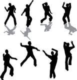 Siluetas masculinas del bailarín de la salsa Foto de archivo