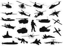 Siluetas militares ilustración del vector